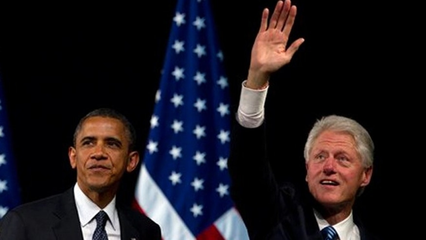 Monday, June 4, 2012: President Barack Obama and former President Bill Clinton at a campaign event at the New Amsterdam Theatre, , in New York.