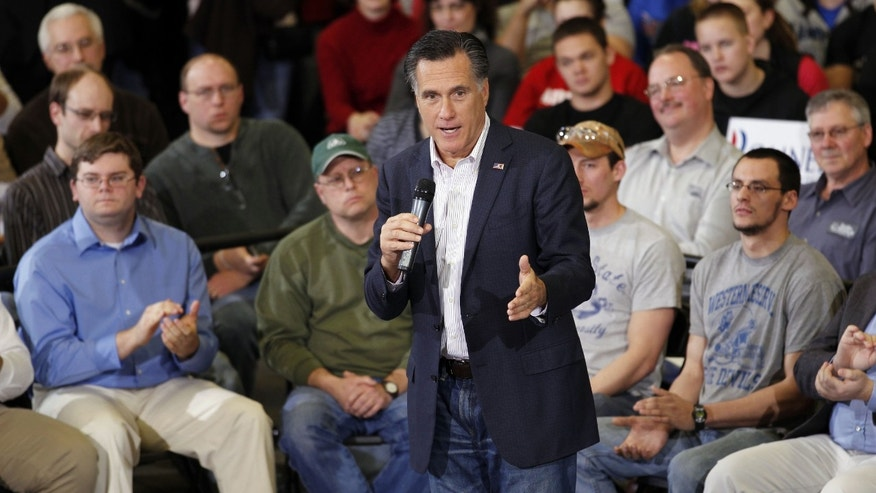 Republican presidential candidate, former Massachusetts Gov. Mitt Romney holds a town hall meeting at Taylor Winfield in Youngstown, Ohio, Monday, March 5, 2012. (AP Photo/Gerald Herbert)