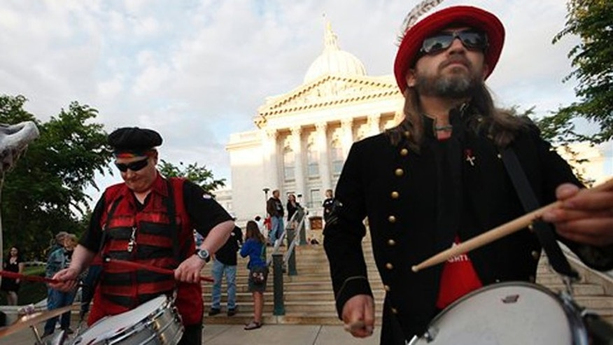 June 5, 2012: Members of the Forward Marching Band in a rally outside the Wisconsin State Capitol before the recall election.