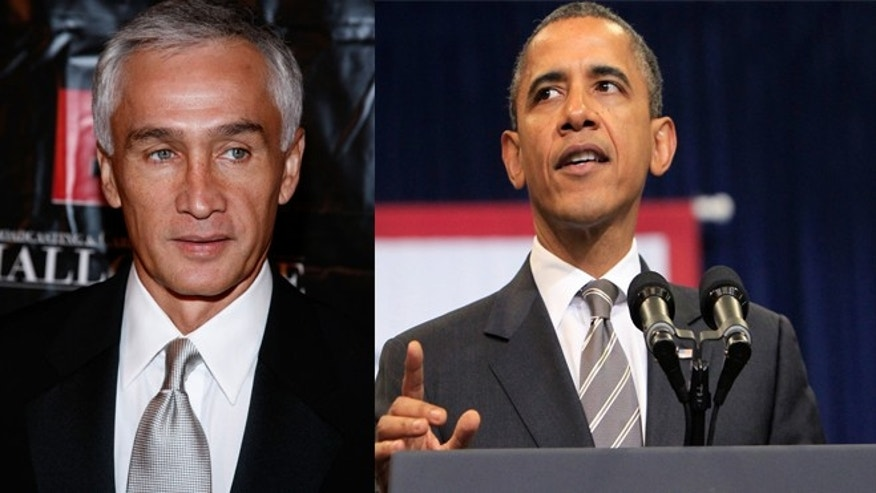 (Left) Jorge Ramos, Univision Anchor, and (Right) President Barack Obama.