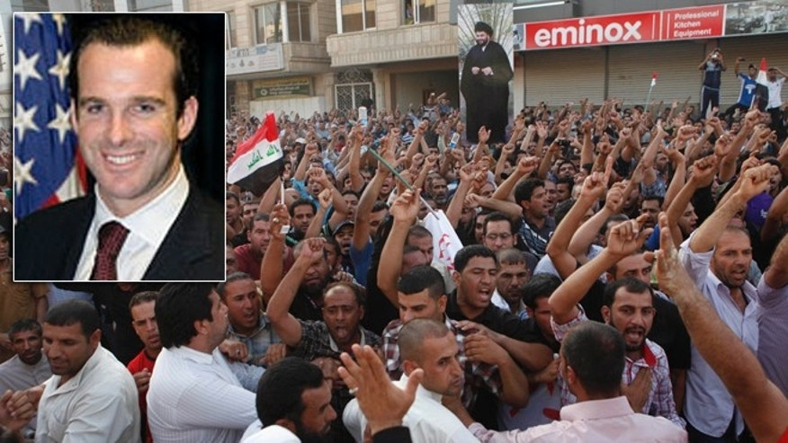 Followers of Shiite cleric Muqtada al-Sadr protest June 6 in Iraq. Brett McGurk, inset, President Obama's pick to be U.S. ambassador to Iraq, has withdrawn his name from consideration.
