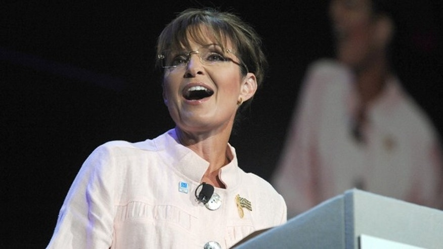 FILE: June 29, 2012: Former GOP presidential candidate and Alaska Gov. Sarah Palin speaks in Duluth, Ga.