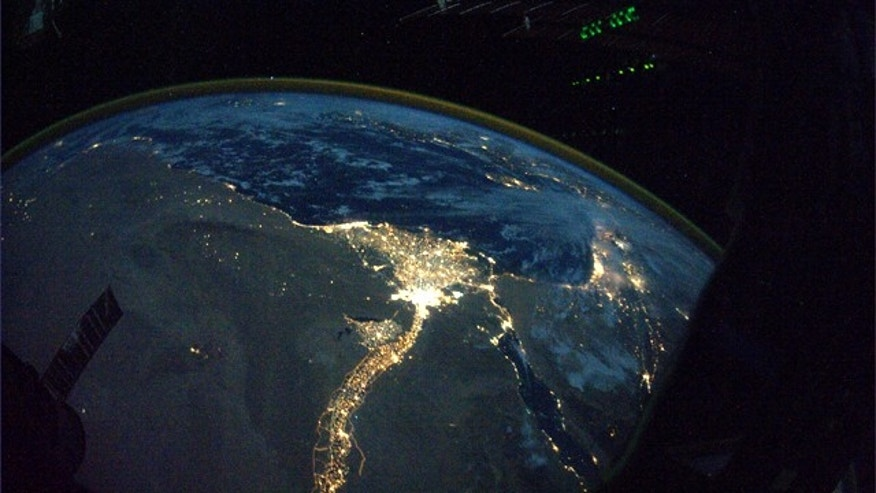 This image provided by NASA and posted to Twitpic by astronaut Douglas Wheelock on Oct. 31, 2010 shows a night view of the Nile River winding up through the Egyptian desert toward the Mediterranean as seen from the International Space Station.