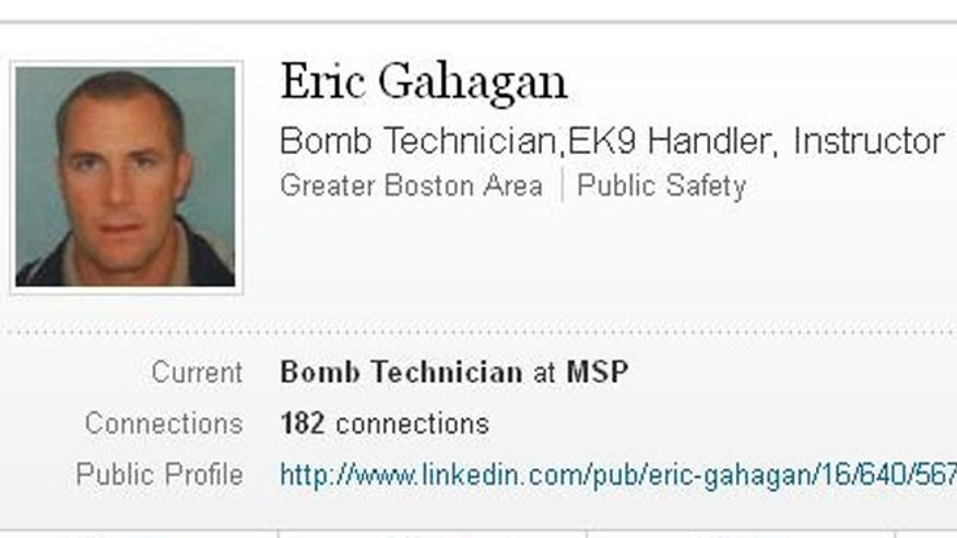 "Eric ""Bomb Squad"" Gahagan, a Massachusetts State trooper who was assigned to Vice President Biden's security detail."