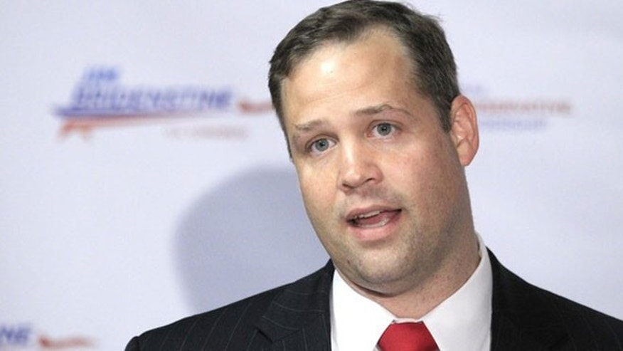 June 20, 2012: Jim Bridenstine speaks during a news conference in Tulsa, Okla.
