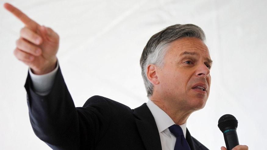 FILE: Jan. 3, 2012: Jon Huntsman as a GOP presidential candidate campaigns at Strong Foundations Charter School,  in Pembrooke, N.H.