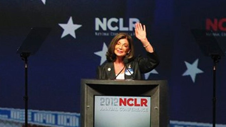 July 7, 2012: Rep. Shelley Berkley, D-Nevada, waves after speaking at the National Council of La Raza affiliate luncheon in Las Vegas.