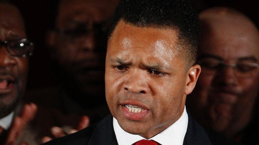 FILE: March 20, 2012: Rep. Jesse Jackson Jr. thanks supporters at his election night party in Chicago after his Democratic primary.