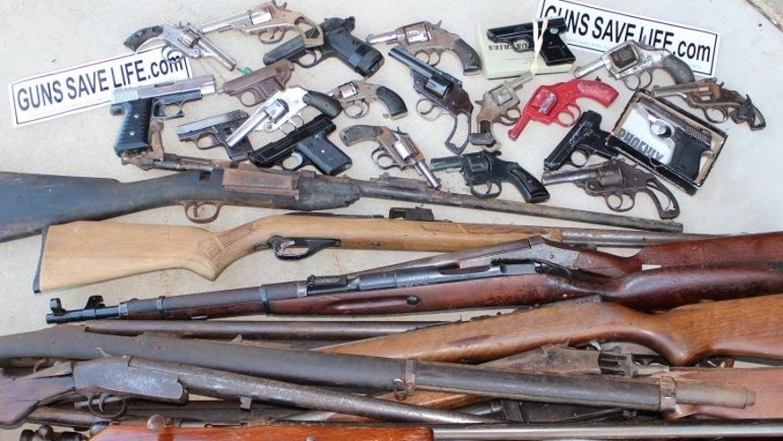 "This photo, provided by ""Guns Save Life,"" shows the group's rifles that were sold to the Chicago Police Department under the city's firearms buyback program."
