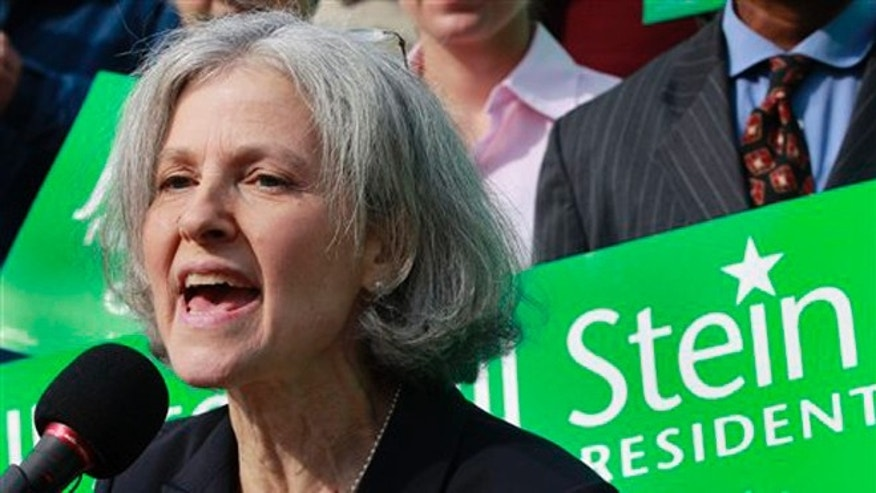 Oct. 24, 2011: In file photo, Jill Stein of Lexington, Mass. speaks during a news conference outside the Statehouse in Boston.