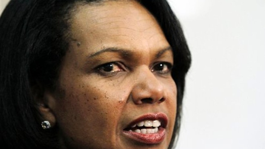FILE:  April 17, 2012:  Former Secretary of State Condoleezza Rice speaks at Mississippi College in Clinton, Miss.