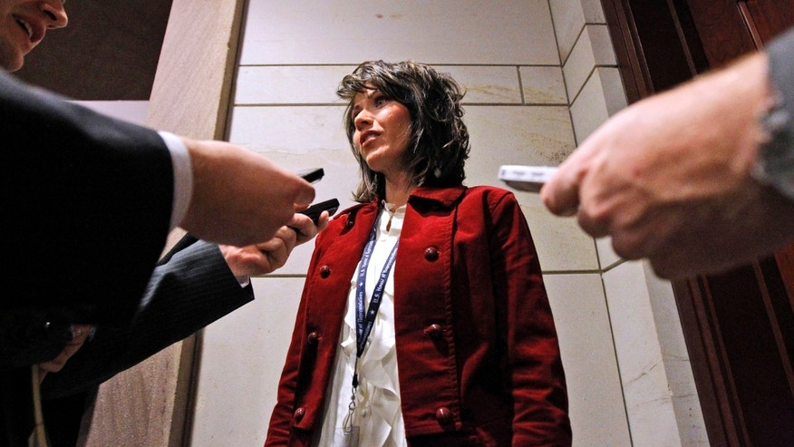 FILE: Rep. Kristi Noem R-S.D., talks with the media on Capitol Hill in Washington after being elected in November 2010.