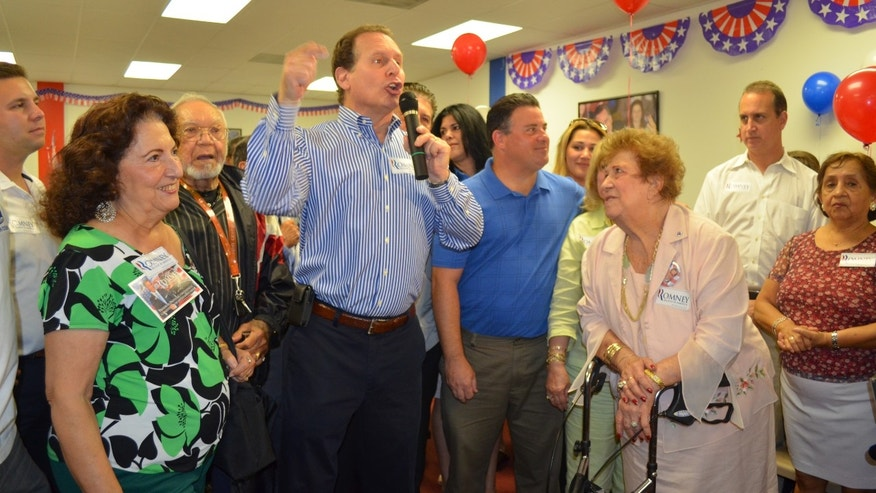 Former Congressman Lincoln Diaz-Balart spoke at the opening of the Romney Campaign office in Hialeah, Florida. (Ivonne Amor)