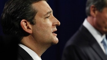 U.S. Senate Candidates Ted Cruz, left, speaks during the televised debate between himself and Texas Lt. Gov. David Dewhurst in Dallas, Friday, June 22, 2012.  Cruz and Dewhurst are locked in a run off fight for the Republican nomination to fill Texas' open U.S. Senate seat. (AP Photo/LM Otero, Pool Photo)