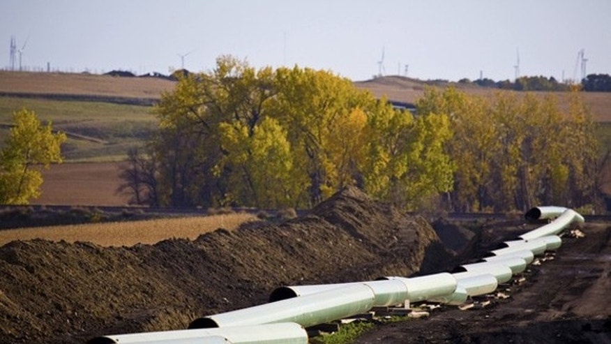 The Keystone XL Pipelin is show under construction in North Dakota