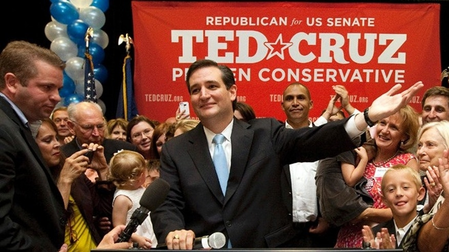 July 31, 2012: Senate candidate Ted Cruz speaks to a cheerful crowd in Houston after he defeated rival Lt. Gov. David Dewhurst in a runoff election for the GOP nomination for the U.S. Senate seat.