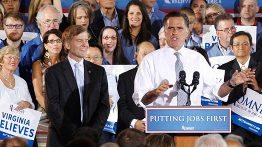 FILE: June 27, 2012: GOP presidential candidate Mitt Romney with Virginia Gov. Bob McDonnell at a campaign event in Sterling, Va.