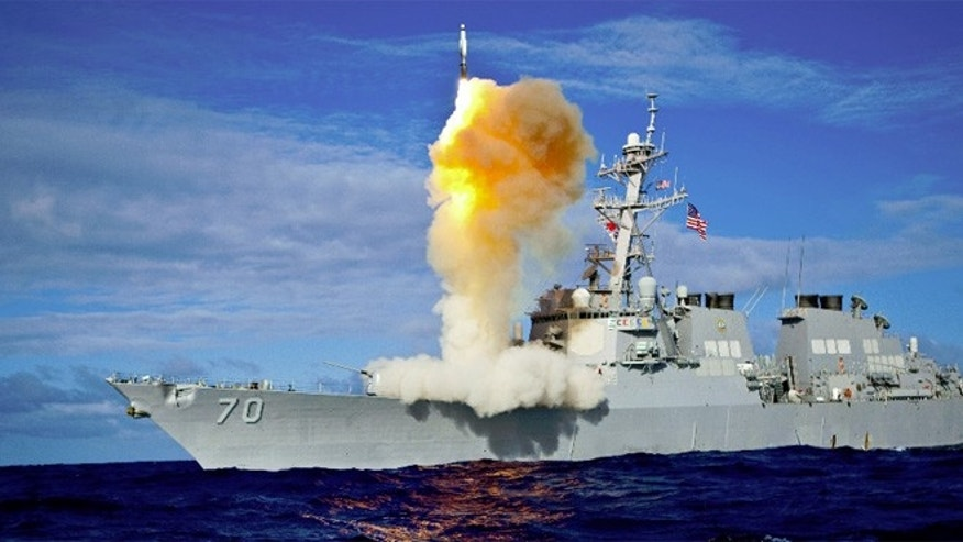 Shown here is a missile that's part of the Pentagon's Aegis Ballistic Missile Defense system.