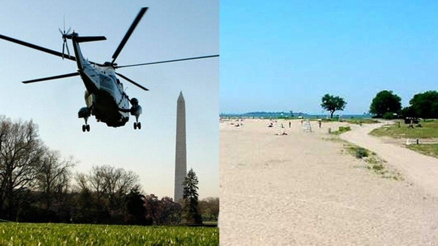The presidential Marine One helicopter flies over Washington. Sherwood Island State Park is owned by Connecticut and borders the Long Island Sound.