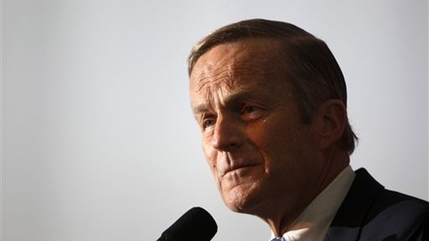FILE: Rep. Todd Akin, R-Mo., announces his candidacy for U.S. Senate, in Creve Coeur, Mo. Democrats have their thumbs heavily on Republican scales in Senate primaries in Missouri and Wisconsin this summer, hoping to tip the balance and improve their own chances of maintaining a majority in November.