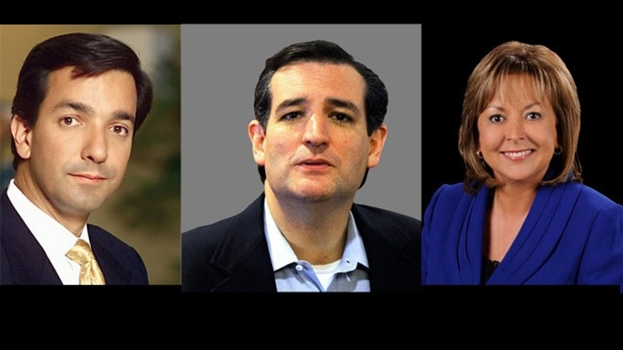From left to right: Republicans Puerto Rico Gov. Luis Fortuño, U.S. Senate nominee Ted Cruz, and New Mexico Gov. Susana Martinez.
