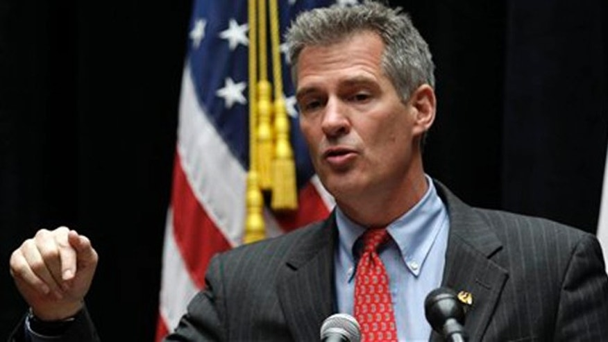 FILE: May 2, 2012: Sen. Scott Brown, R-Mass. speaks at Bunker Hill Community College in the Charlestown neighborhood of Boston.