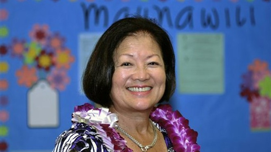 FILE: Oct. 19, 2010: Rep. Mazie Hirono, D-Hawaii participates in  a candidates Forum at Maunawili Elementary School in Kailua, Hawaii.