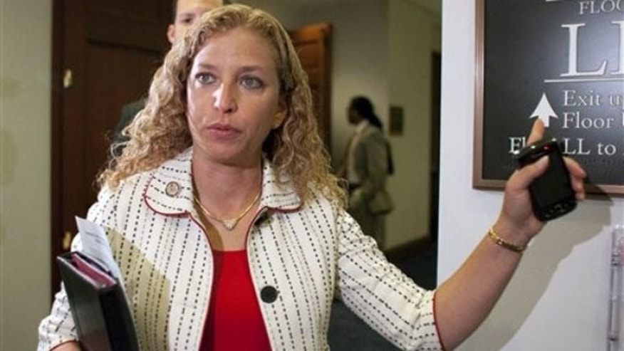 FILE: July, 30, 2011: Rep. Debbie Wasserman-Schultz speaks to reporters following a Democratic Caucus on Capitol Hill in Washington.