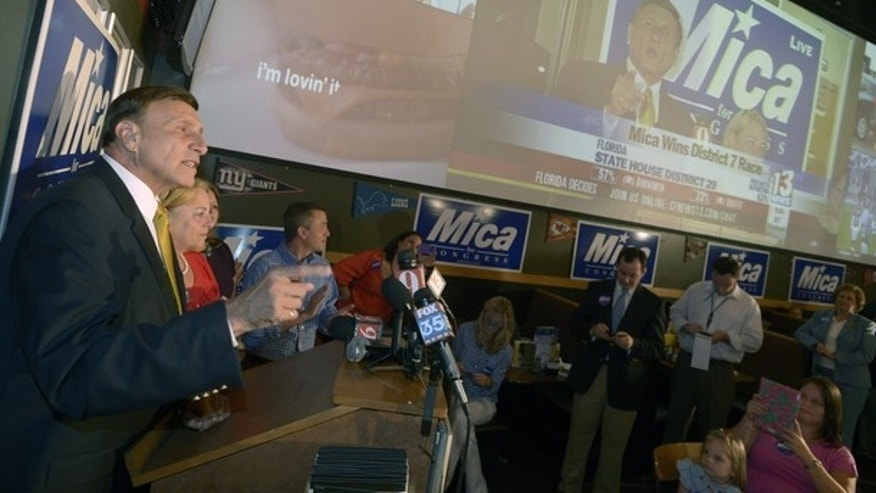 Aug. 14, 2012: Rep. John Mica, R-Fla., left, thanks supporters after news outlets declared him the winner of the Republican primary for his Congressional seat in Casselberry, Fla.