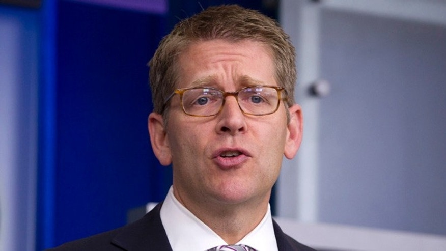 Aug. 16, 2012: White House Press Secretary Jay Carney speaks during his daily news briefing at the White House.