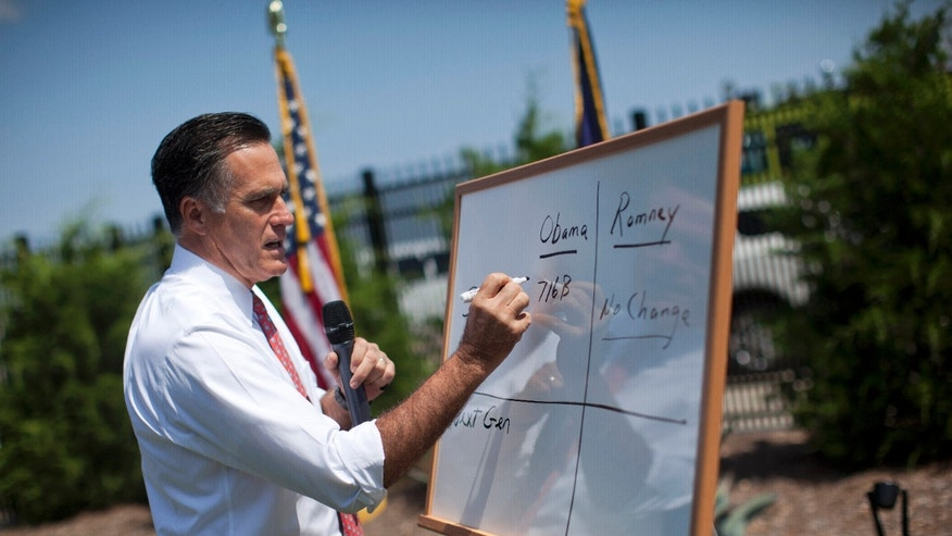 Aug. 16, 2012: Mitt Romney writes on a white board as he talks about Medicare during a news conference at Spartanburg International Airport in Greer, S.C.