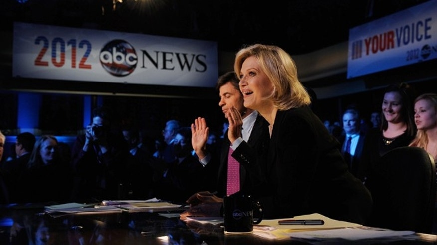 Moderators George Stephanopoulos and  Diane Sawyer during the ABC News GOP Presidnetial debate on the campus of Drake University on December 10, 2011 in Des Moines, Iowa.(Photo by Kevork Djansezian/Getty Images)