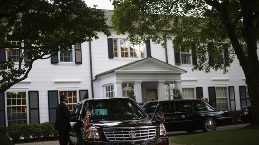 Aug. 6, 2012: U.S. President Barack Obama's limousines are pictured following his arrival to a election campaign fundraiser at the Connecticut home of film producer Harvey Weinstein in Westport.