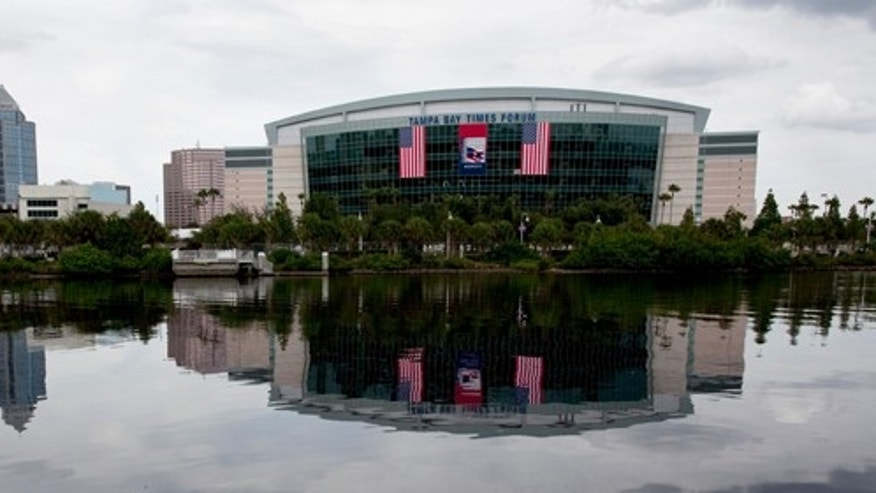 In this photo taken Aug. 22, 2012, the Tampa Bay Times Forum, site of the 2012 Republican National Convention, is viewed across the water of the Garrison Channel from Harbour Island in downtown Tampa, Fla.  (AP Photo/The Tampa Bay Times, Carolina Hidalgo)