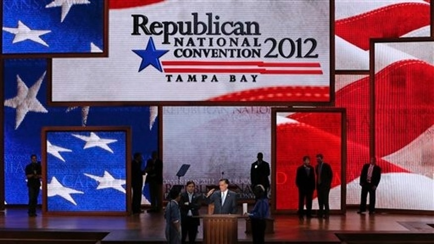 Republican presidential nominee Mitt Romney looks over his speaking position during at sound check at the Republican National Convention in Tampa, Fla., on Thursday, Aug. 30, 2012. (AP Photo/J. Scott Applewhite)