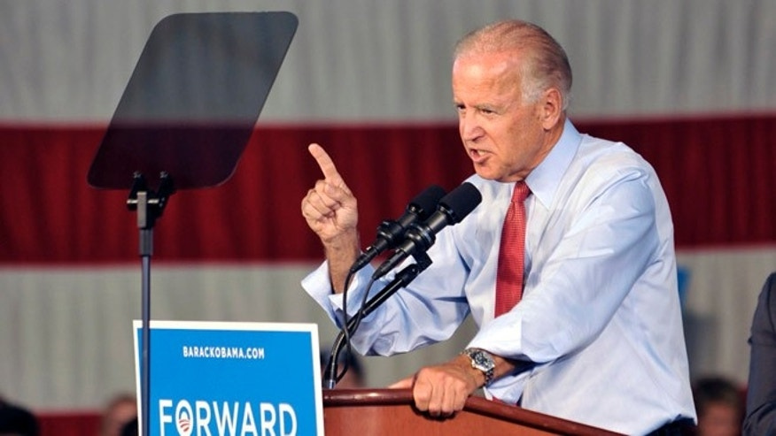 FILE: Aug. 21, 2012: Vice President Biden speaks at a rally in Minneapolis, Minn.