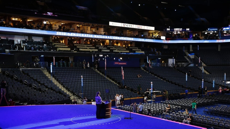 Sept. 2, 2012: A production crew prepares the stage at the Democratic National Convention in Charlotte, N.C.