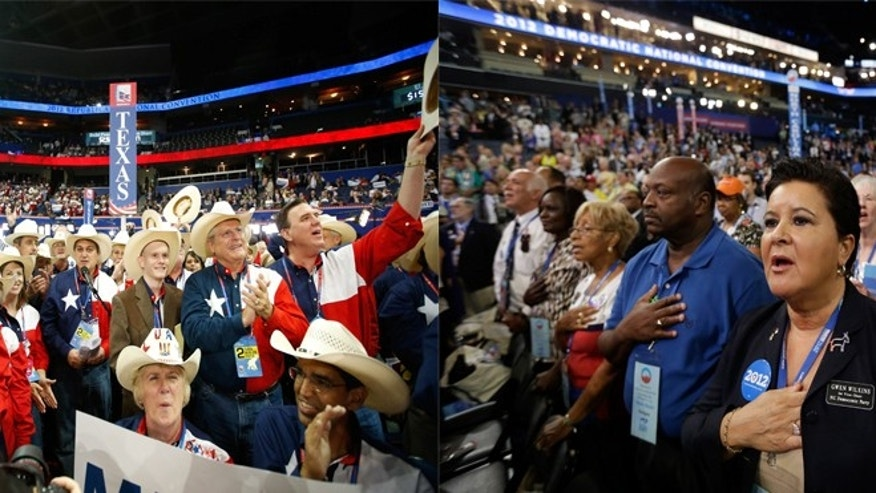 Texas delegates at the Republican National Convention on the left (Getty Images) and delegates at the Democratic Republican National Convention on the right (AP).