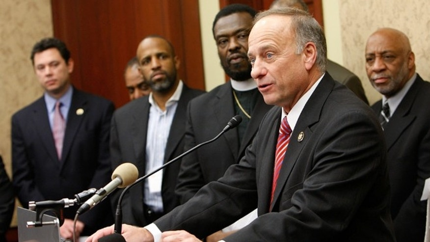 WASHINGTON - JANUARY 12:  U.S. Rep. Steve King (R-IA) speaks as Bishop Harry Jackson (4th L), senior pastor of Hope Christian Church and Chairman of the Stand4MarriageDC.com Coalition, listens during a news conference on Capitol Hill January 12, 2010, in Washington, DC. The coalition held a news conference to discuss strategies in saving traditional marriage and to call on congressional members to continue to support it.  (Photo by Alex Wong/Getty Images) *** Local Caption *** Harry Jackson;Steve King