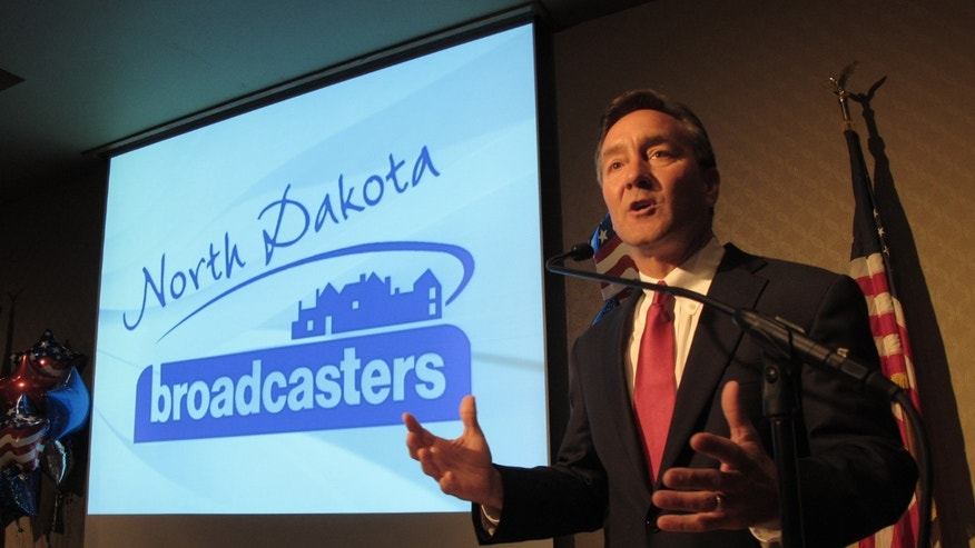 FILE: Sept. 5, 2012: Republican U.S. Senate candidate Rick Berg speaks during a debate at the Radisson Hotel in Bismarck, N.D.