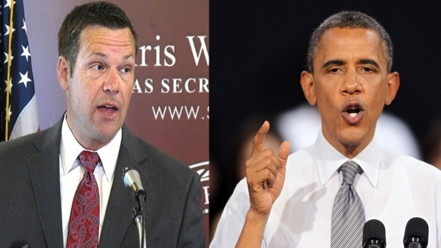 (Left) Kansas Secretary of State Kris Kobach (AP) and (Right) President Barack Obama. (Getty Images)
