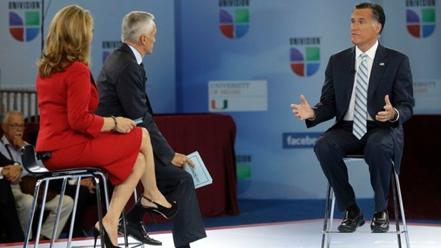 "Sept. 19, 2012: Republican presidential candidate and former Massachusetts Gov. Mitt Romney participates in a Univision ""Meet the Candidates"" forum with Jorge Ramos and Maria Elena Salinas in Miami."