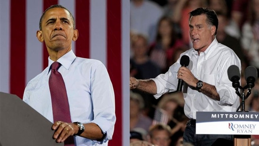President Obama is shown campaigning in Milwaukee Sept. 22, while Mitt Romney is shown in Denver Sept. 23.