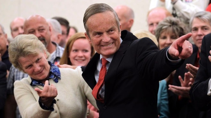 Sept. 25, 2012: Missouri Republican Senate candidate Rep. Todd Akin, R-Mo., and his wife Lulli Akin, left, take part in a news conference in St. Louis.
