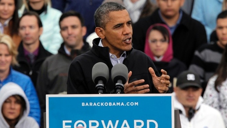 Oct. 4, 2012: President Obama speaks at a campaign rally in Denver.