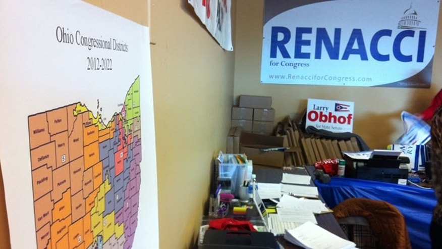 Shown here are maps and campaign signs at Republican headquarters in Wadsworth, Ohio.