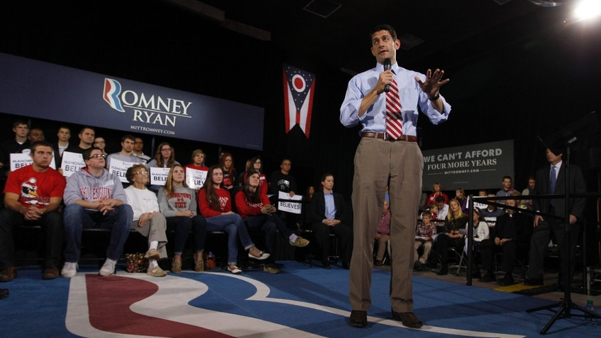 Saturday, Oct. 13, 2012: Republican vice presidential candidate Rep. Paul Ryan, R-Wis., at a rally at Youngstown State University,  in Youngstown, Ohio.