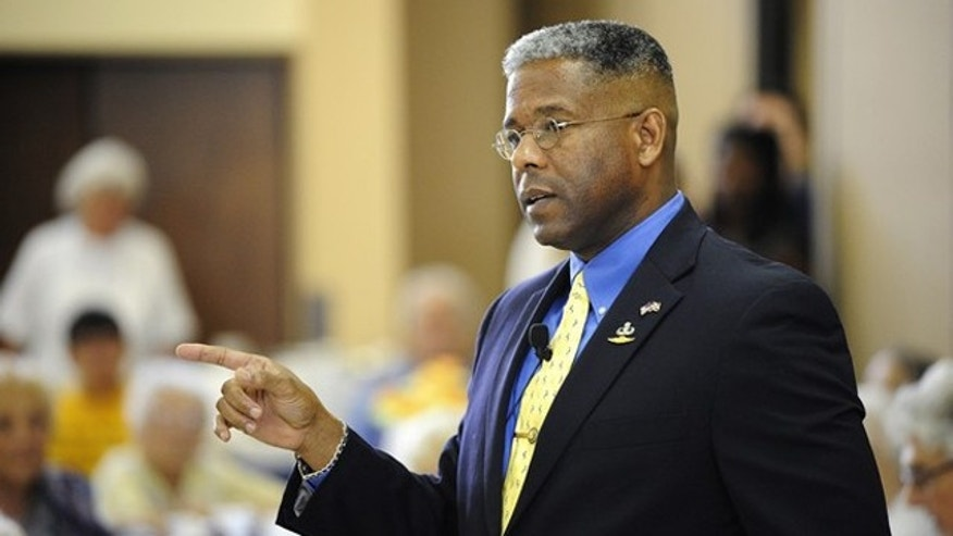 FILE: Aug. 12, 2012: Republican Rep. Allen West speaks at a senior center in Boca Raton, Fla.