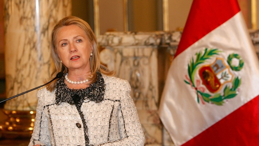 U.S. Secretary of State, Hillary Clinton, speaks after a meeting with Peru's President Ollanta Humala in Lima, Peru, Monday, Oct. 15, 2012.