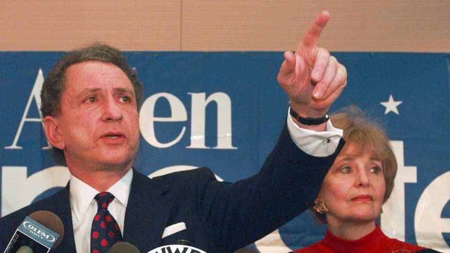 Nov. 22, 1995: File photo, Sen. Arlen Specter, R-Pa., points to a reporter during a news conference in Philadelphia, where he announced that he is dropping out of the 1996 Presidential race. Former U.S. Sen. Arlen Specter, longtime Senate moderate and architect of one-bullet theory in JFK death, died Sunday, Oct. 14, 2012.  He was 82.
